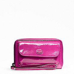 COACH F48864 Peyton Patent Universal Zip Wallet SILVER/MAGENTA