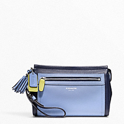 COACH F48875 Colorblock Leather Large Wristlet SILVER/NAVY/CHAMBRAY