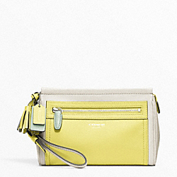 COACH F48875 Colorblock Leather Large Wristlet SILVER/PARCHMENT/CITRINE