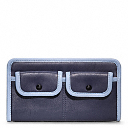 COACH F48885 Archive Two Tone Zippy Wallet SILVER/NAVY/CHAMBRAY