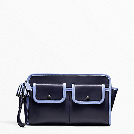 ARCHIVE TWO TONE LARGE CLUTCH - COACH F48893 - SILVER/NAVY/CHAMBRAY
