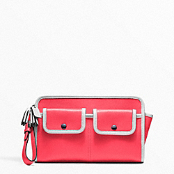 COACH F48893 - ARCHIVE TWO TONE LARGE CLUTCH SILVER/BRIGHT CORAL/SNOW
