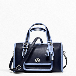COACH F48896 Archive Two Tone Mini Satchel SILVER/NAVY/CHAMBRAY
