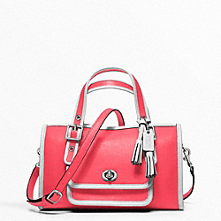 COACH F48896 Archive Two-tone Mini Satchel SILVER/BRIGHT CORAL/SNOW