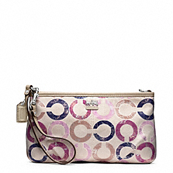 COACH F48919 Madison Metallic Gesso Op Art Large Wristlet