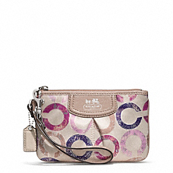 COACH F48926 Madison Metallic Gesso Op Art Small Wristlet