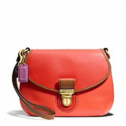 COACH F48943 Poppy Colorblock Leather Large Wristlet BRASS/VERMILLIGHT GOLDON/SUN ORANGE