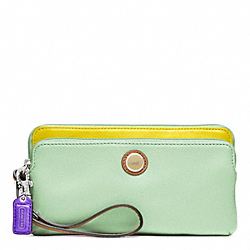 COACH F48952 Poppy Colorblock Leather Double Zip Wallet
