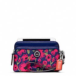 COACH F48954 Poppy Flower Print Double Zip Wristlet