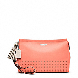 COACH F48957 Large Perforated Leather Wristlet SILVER/CORAL/LIGHT GOLDGHT SAND