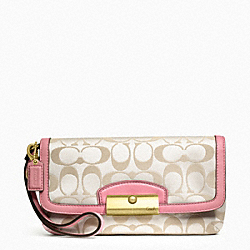 COACH F48980 Kristin Signature Sateen Large Flap Wristlet BRASS/CREAM LIGHT GOLDGHT KHA/ROSE