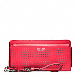 COACH F49000 Perforated Leather Double Accordion Zip Wallet