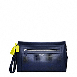 PERFORATED LEATHER LARGE CLUTCH - f49001 - 19489