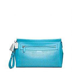 PERFORATED LEATHER LARGE CLUTCH - f49001 - 30663