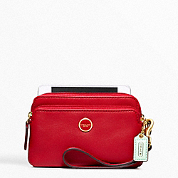 COACH F49053 Poppy Leather Double Zip Wristlet BRASS/CHERRY