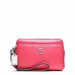 COACH F49053 Poppy Leather Double Zip Wristlet