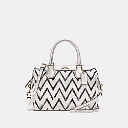 COACH F49055 Mini Bennett Satchel With Geo Chevron Print BLACK/CHALK/IMITATION GOLD