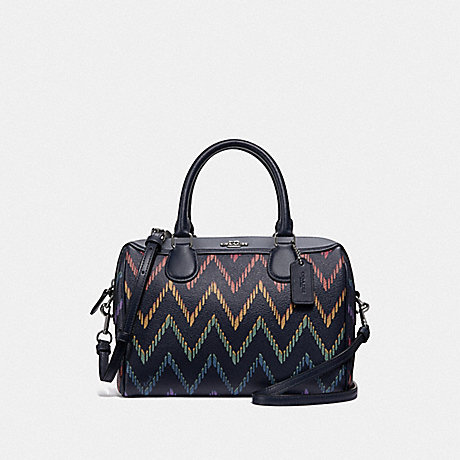 COACH F49055 MINI BENNETT SATCHEL WITH GEO CHEVRON PRINT<br>蔻驰小贝内特包包用地理CHEVRON打印 午夜多银