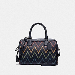 MINI BENNETT SATCHEL WITH GEO CHEVRON PRINT - F49055 - MIDNIGHT MULTI/SILVER