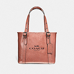 COACH F49056 Small Ferry Tote With Glitter LIGHT COPPER/BLACK ANTIQUE NICKEL