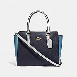 COACH F49057 - LEAH SATCHEL IN COLORBLOCK MIDNIGHT MULTI/IMITATION GOLD