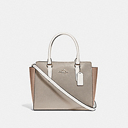 LEAH SATCHEL IN COLORBLOCK - F49057 - CHALK MULTI/SILVER
