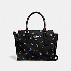 LEAH SATCHEL WITH VINTAGE PRAIRIE PRINT - F49058 - BLACK/MULTI/IMITATION GOLD