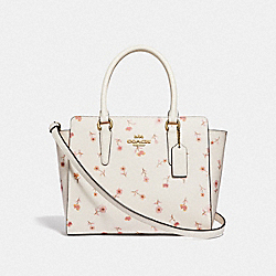 LEAH SATCHEL WITH VINTAGE PRAIRIE PRINT - F49058 - CHALK MULTI/IMITATION GOLD