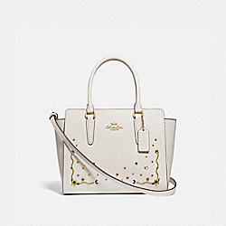 LEAH SATCHEL WITH STARDUST CRYSTAL RIVETS - F49061 - CHALK MULTI/IMITATION GOLD