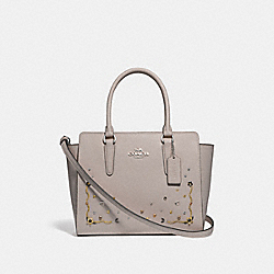 LEAH SATCHEL WITH STARDUST CRYSTAL RIVETS - F49061 - GREY BIRCH MULTI/SILVER