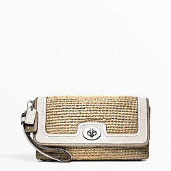 COACH F49103 Straw Large Flap Clutch
