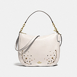 ELLE HOBO WITH STARDUST CRYSTAL RIVETS - F49127 - CHALK MULTI/IMITATION GOLD
