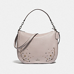 ELLE HOBO WITH STARDUST CRYSTAL RIVETS - F49127 - GREY BIRCH MULTI/SILVER