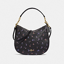 ELLE HOBO WITH VINTAGE PRAIRIE PRINT - F49129 - BLACK/MULTI/IMITATION GOLD
