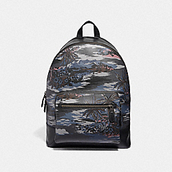 WEST BACKPACK WITH HAWAIIAN PRINT - F49131 - BLACK MULTI/BLACK ANTIQUE NICKEL