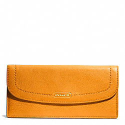 COACH F49150 Park Leather Soft Wallet BRASS/ORANGE SPICE