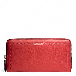 COACH F49151 Park Leather Accordion Zip SILVER/VERMILLION