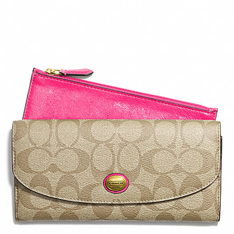 COACH F49154 PEYTON SLIM ENVELOPE WITH POUCH IN SIGNATURE FABRIC BRASS/LT-KHAKI/POMEGRANATE