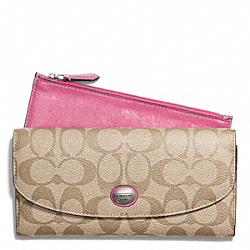 COACH F49154 Peyton Signature Slim Envelope Wallet With Pouch SILVER/LT KHAKI/STRAWBERRY