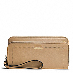 PARK LEATHER DOUBLE ACCORDION ZIP - f49157 - BRASS/SAND