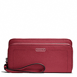 COACH F49157 Park Leather Double Accordion Zip SILVER/BLACK CHERRY