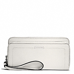 COACH F49157 Park Leather Double Accordion Zip Wallet SILVER/PEARL