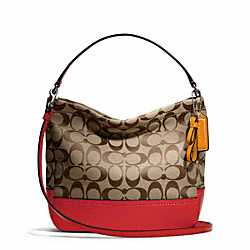 COACH F49158 - PARK SIGNATURE MINI DUFFLE CROSSBODY SILVER/KHAKI/VERMILLION