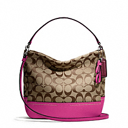 COACH F49158 - PARK SIGNATURE MINI DUFFLE CROSSBODY SILVER/KHAKI/BRIGHT MAGENTA