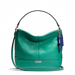 COACH F49160 Park Leather Mini Duffle Crossbody SILVER/BRIGHT JADE
