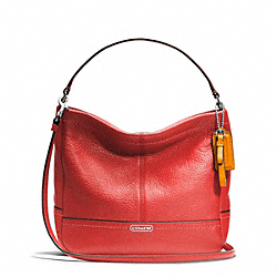 COACH F49160 - PARK LEATHER MINI DUFFLE CROSSBODY SILVER/VERMILLION