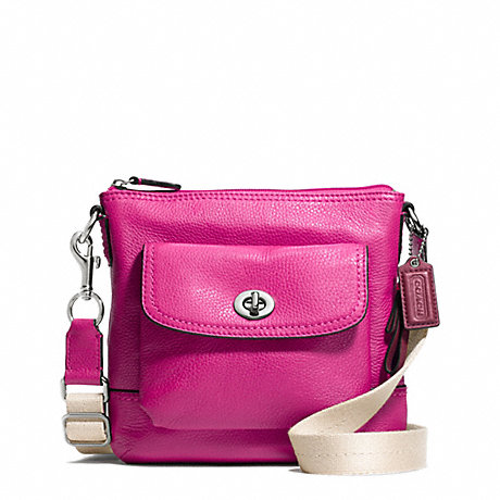COACH f49170 PARK LEATHER SWINGPACK SILVER/BRIGHT MAGENTA