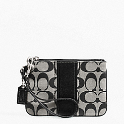 COACH F49174 Signature Stripe Small Wristlet SILVER/BLACK/WHITE/BLACK