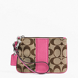 COACH F49174 Signature Stripe Small Wristlet SILVER/KHAKI/MULBERRY