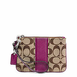 COACH F49174 Signature Stripe Small Wristlet SILVER/KHAKI/PASSION BERRY